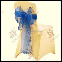 wedding nylon chair cover with organza sashes for wedding decoraton