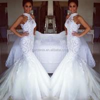 Simple White Cheap Mermaid Lace Wedding Dress Halter Tulle Bottom Long Satin Vestidos De Noivas 2014 Sexy Robe De Mariage(WD260)