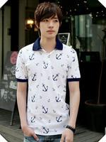 Korea Style Top Quality Fashion Short Sleeve Slim Fit Printing Custom POLO Shirt , Mens POLO T Shirt