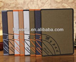 FL005 hot selling Retro Canvas stand wallet leather case for ipad mini 2