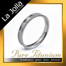 Trend Matte Surface Silver Women's Titanium Ring with Zircon