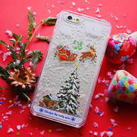 Fashion Liquid Bling Crystal Christmas Tree Snowflake Case for Samsung & iPhone 3D Phone Case