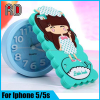 Cheap price silicon phone case for iphone5 5s, xiaoxi 3D cartoon silicon case for iphone 5 5s