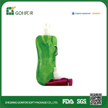 Plastic Foldable Water Bag with Carabiner, Used for Promotional Gift Purposes, accept customized