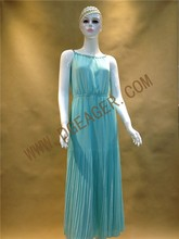 Original Design Ladies Blue Sleeveless Bohemian Style Crinkle Chiffon Beach Maxi Dress