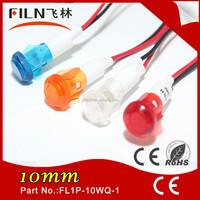 10mm Amber signal light ship nylon 110v 220v Led pilot lamp with 20cm wire