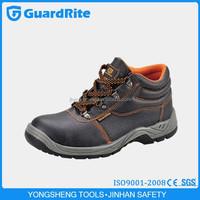 GuardRite Brand Black Genuine Leather Mid-cut PVC Safety Shoes , PU Leather PVC Sole Safety Shoes