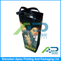 Personalized wine gift bag white insert with silk handle , promotion paper printed packaging bag for red wine
