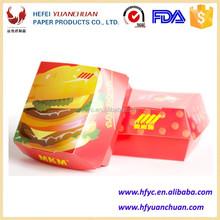 Disposable printing foldable food grade paper hamburger helper box directions