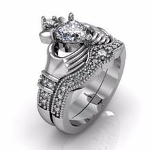 2015 high quality Yiwu factory jewelry luxury beautiful ladies women heart irish claddagh wedding ring set
