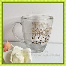 High quality clear printed juice coffee glass mug,350ml glassware factory