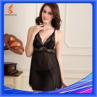 Adults, Women, Sleeveless, See Through Nightgown, Black Silk Nightgown, Black Transparent Net Nightgown