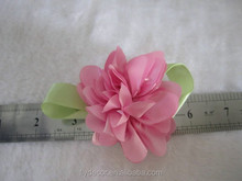 pink fabric flower with green leaves handmade high quality