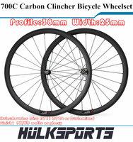 Carbon Fiber Wheel 700C 38mm Profile 25mm Width Carbon Road Bike Clincher Cheap Profile Wheels Carbon Wheels