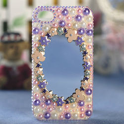 For iPhone 5 Case Cover Bling Rhinestones Pretty Diamond Beads Mirror Phone Accessory