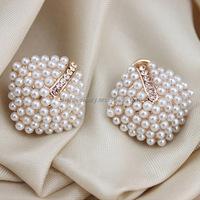 2014 Gold Plated Vintage Pearl Earrings Stud Fashion Jewel EP005