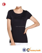 Summer popular chest pocket soft black lady modal fibre t shirt