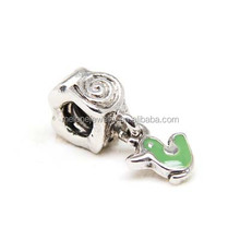 2015 Cheap Green Enamel Bird Dangle Flower European Charm Zinc Alloy Beads