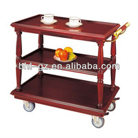 hotel restaurant 3-tier red wooden liquor trolley drinks trolley bar service trolley F7