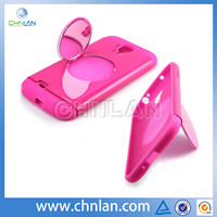 Hybrid silicon with stand mirror case for samsung galaxy s4