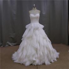 Real sample crystal beaded layer wedding dress 2012