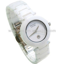 2012 Fashion white ceramic watches with date waterproof