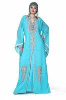Long Beaded Evening Designer Arabic Kaftan Fully Embroidered Abaya arabic evening dress long sleeve muslim evening dress
