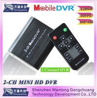 Realtime SD 128GB Card Recording Mobile Bus Vehicle Truck Car DVR Recorder System 2-channel mini protable DVR