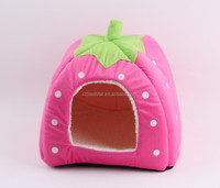 Cute Soft Sponge Strawberry Pet Cat Dog House Bed Warm Cushion Basket