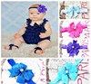 Wholesale Girls Accessory Large Satin Rhinestone Bow Infant Headbands