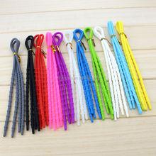 Promoción venta al por mayor de colores populares sin corbata cordón de silicona, accesorios del zapato de accesorios