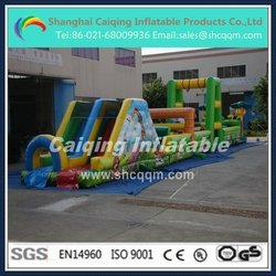 giant inflatable tropical rainforest obstacle course for adults and kids