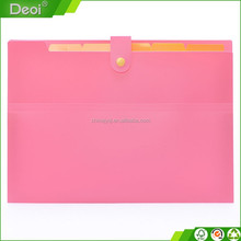 2015 latest in Alibaba fashionable pp plastic expanding file case with button closure