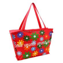Customized flower printing red zipper hand shopping bag shoulder shopping bag