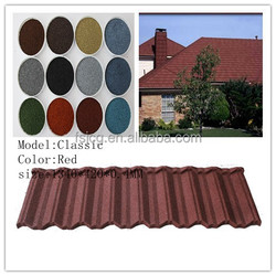 color stone coated metal roof tile /stone coated steel roofing tile/roof tile made in china