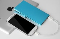 Ultra Thin Brushed Metal Mobile Power Bank 10,000mAh with LED Torch