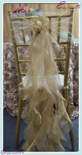 YHC#125 fancy organza curly chair sash polyester banquet wedding wholesale cheap chiavari cover