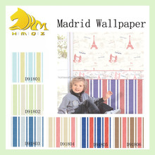 2015 beautiful striped non-woven base paper and vinyl surface kid's wallpaper