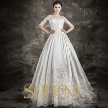 Sherny Bridals new Fashion Beaded Sequined long tail see through back lace Plus Size short sleeve Wedding Dresses 2015