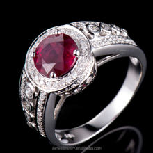 Luxury New Listing! SOLID 18K White Gold Round Blood Ruby Diamond Cocktail Ring