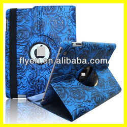 Rose Flower 360 Rotating PU Leather Case for iPad 4 3 2 Smart Cover w Magnetic Swivel Stand for Apple iPad Air Accessories Blue