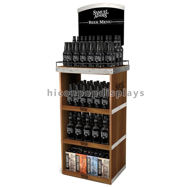 알코올 소매점 마케팅 부스 바닥 서 층 나무 에너지 음료 맥주 ...