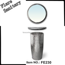 silver column basin pedestal basin sanitary wares galvanized Hotel silver color with mirror and shelf