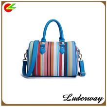 zhejiang manufacturer PU luxury colorful stripe handbags women bags designer wholesale