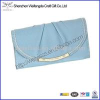 Light Blue Professional Handmade European Leather Wallet for Women
