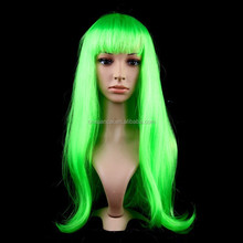 Hot sale cheap synthetic long straight green wigs