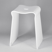 Square Shape Simple Design Small White Bathroom Plastic Stool