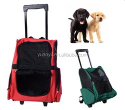 Pet dog backpack carrier luggage trolley dog cat rolling pet carrier with wheel pet travel bag