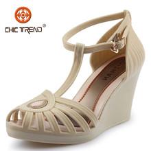 Donne scarpe con il tacco a cuneo 2015 Melissa affollamento signora sandali vendita calda affascinante plastica calzature per l'estate