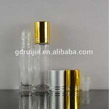 3 ml 5ml 10 roll on glass bottle with plastic or metal roller ball and cap